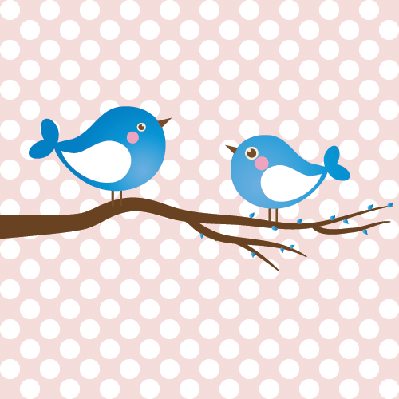 Cute Beauty Birds on the Tree Branch | Clipart