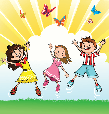 Happy Children Chasing the Butterflies | Clipart