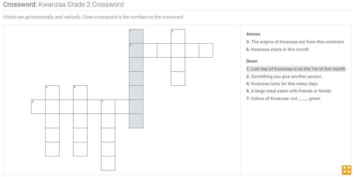 Kwanzaa | Grade 2 Crossword