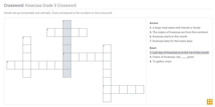 Kwanzaa | Grade 3 Crossword