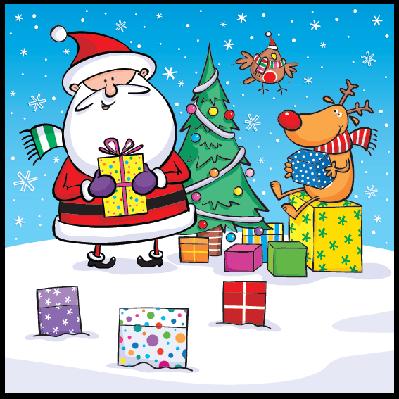 Santa, Reindeer, Tree, Gifts & Robin | Clipart