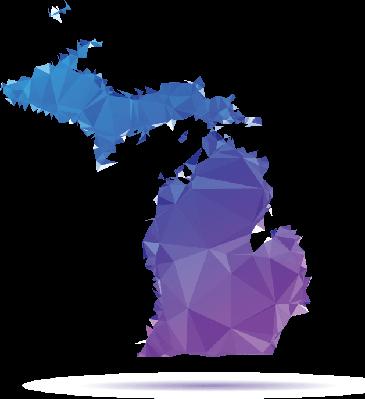 Polygon Triangle Map, Blue: Michigan | Clipart
