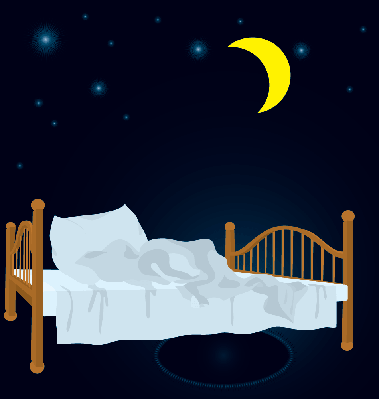 Unmade Bed Under Moon | Clipart