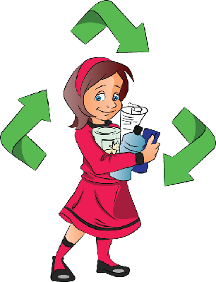 Girl Holding Plastic Bottles for Recycling | Clipart