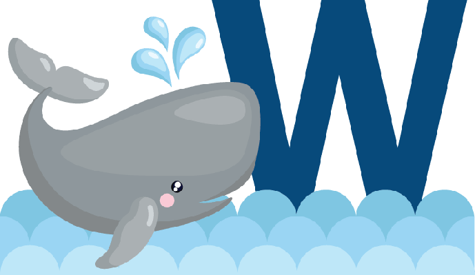 Alphabet W for Whale | Clipart