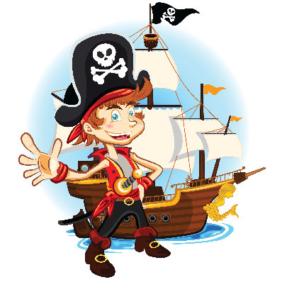 Pirate Kid and His Big War Ship | Clipart
