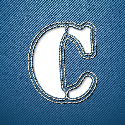 Denim Jeans: Letter C   Clipart