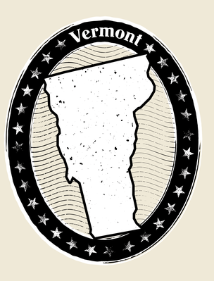 Vermont Grunge Map Black and White Stamp Collection | Clipart