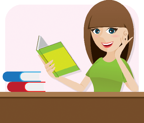 Cartoon Smart Girl Reading Book on Table | Clipart