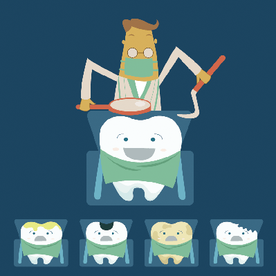 Dentist Examines Teeth of the Patient on the Dentist's Chair | Clipart