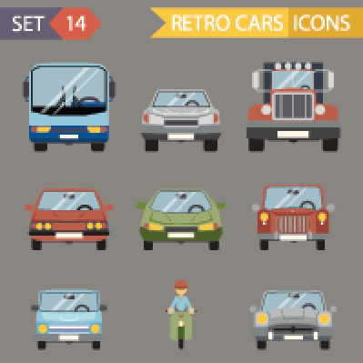 Modern Flat Design Symbols Stylish Retro Car Icons Set Isolated | Clipart