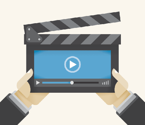 Movie Clapper with Abstract Video Player Program in Director'S Hands | Clipart