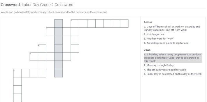 Labor Day | Grade 2 Crossword