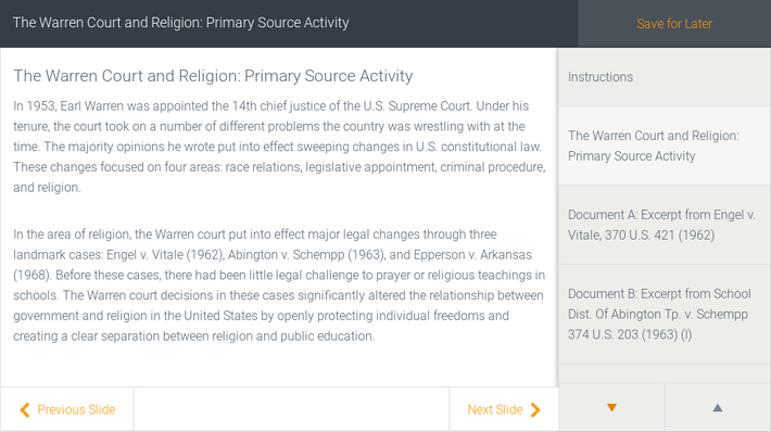 The Warren Court and Religion: Primary Source Activity | Assignment