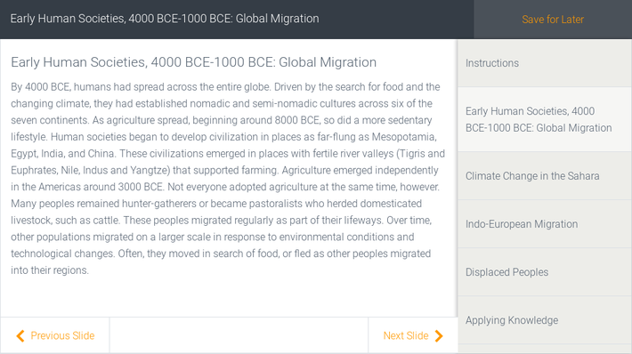 Early Human Societies, 4000 BCE-1000 BCE: Global Migration | Assignment