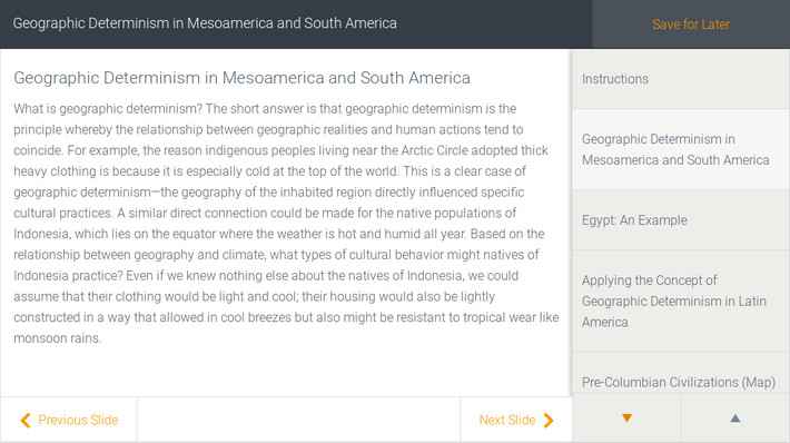 Geographic Determinism in Mesoamerica and South America | Assignment