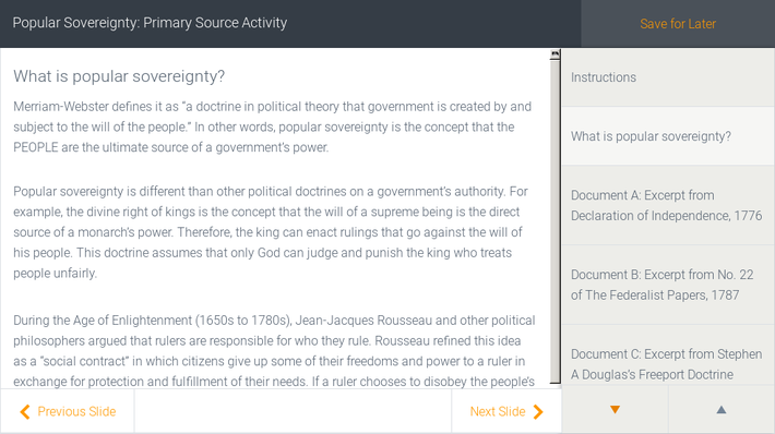 Popular Sovereignty: Primary Source Activity | Assignment