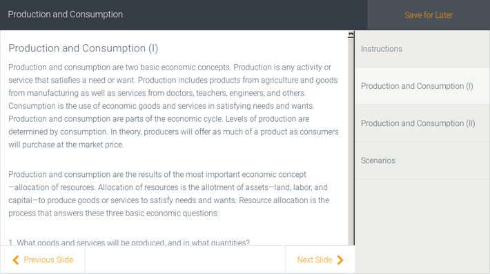 Production and Consumption | Assignment