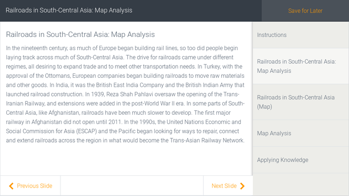 Railroads in South-Central Asia: Map Analysis | Assignment