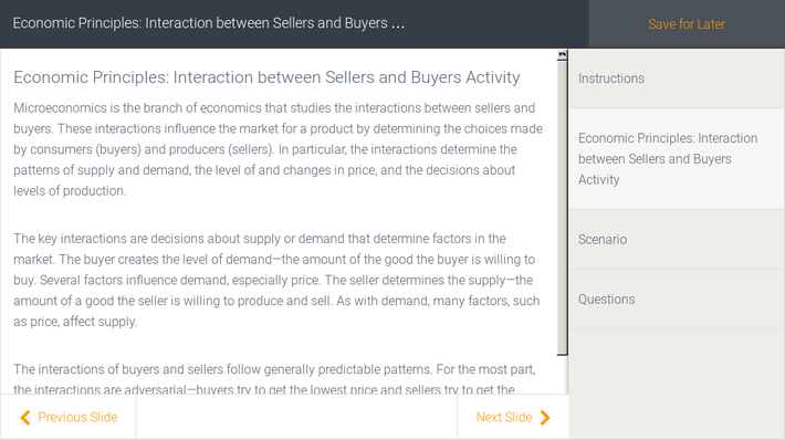 Economic Principles: Interaction between Sellers and Buyers Activity | Assignment
