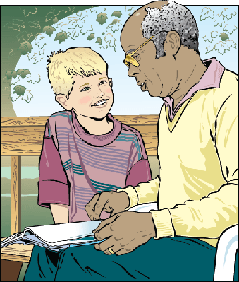 Man And Boy On Park Bench Reading  | Clipart