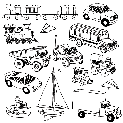 Hand-Drawn Doodle Transport Toys Set | Clipart