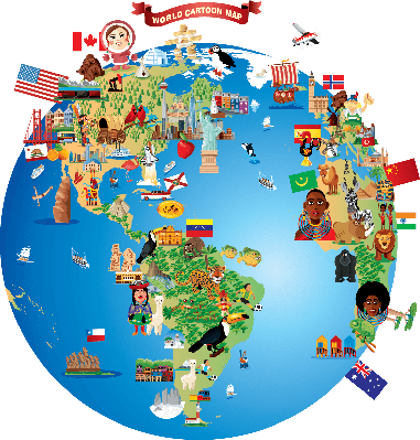 Cartoon map of World | Clipart