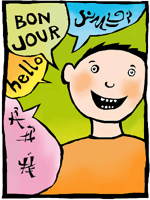 A Drawing of a Young Boy and Speech Bubbles Expressing Hello in Different Languages | Clipart