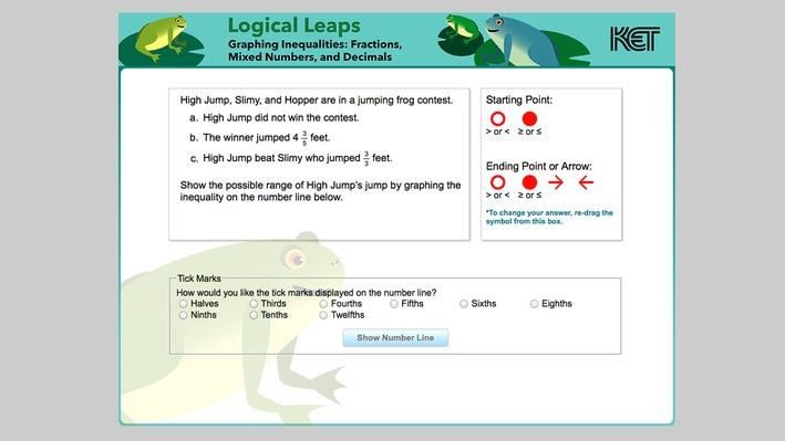 Logical Leaps | Graphing Inequalities: Fractions, Mixed Numbers, and Decimals