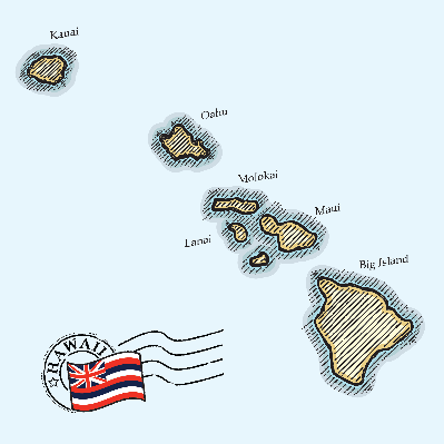 Crosshatch Map of Hawaii | Clipart