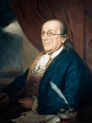 Portrait of Benjamin Franklin (Boston, 1706-Philadelphia, 1790), American Scientist and Politician; Painting by Charles Willson Peale (1741-1827) | Clipart