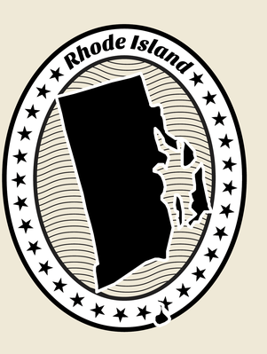 Rhode Island Grunge Map Black and White Stamp Collection | Clipart