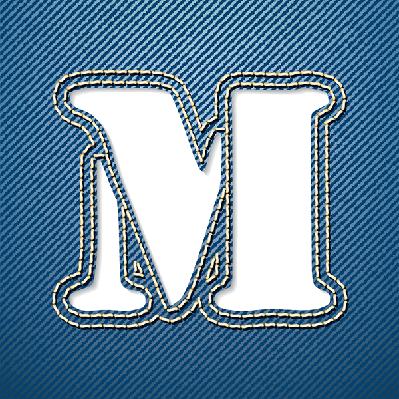 Denim Jeans: Letter M | Clipart