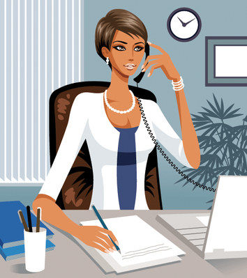 Woman Writing and Using Cellular Telephone | Clipart