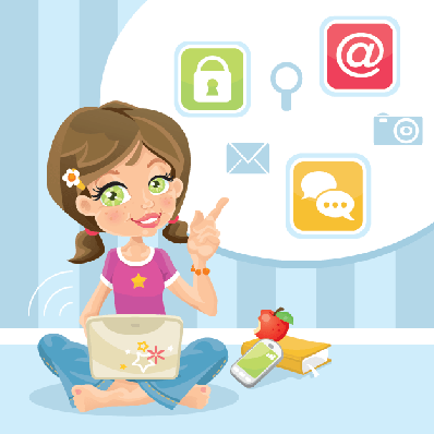 Cute Smilling Schoolgirl with Laptop Pointing | Clipart