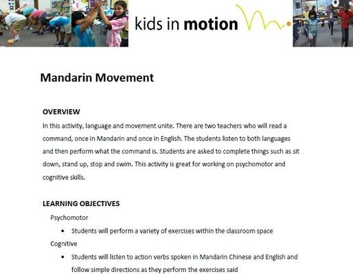 Mandarin Movement Lesson Plan