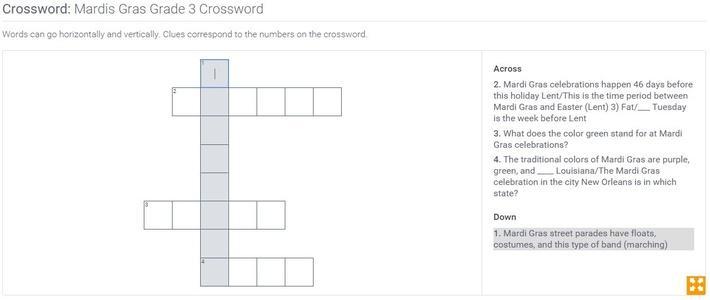 Mardis Gras | Grade 3 Crossword