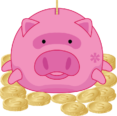 Piggy Bank with Gold Dollar Coins - Illustration | Clipart
