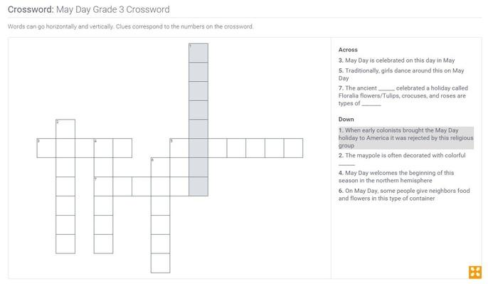 May Day | Grade 3 Crossword