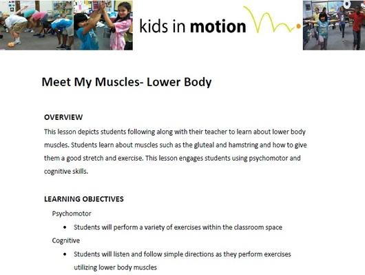Meet My Muscles- Lower Body Lesson Plan