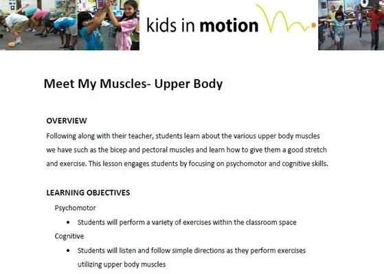Meet My Muscles- Upper Body Lesson Plan