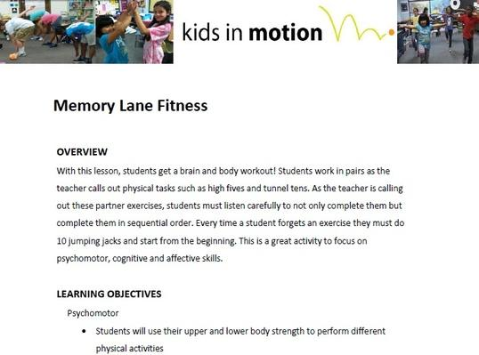 Memory Lane Fitness Lesson Plan