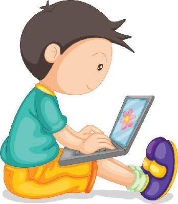 Boy and Laptop | Clipart
