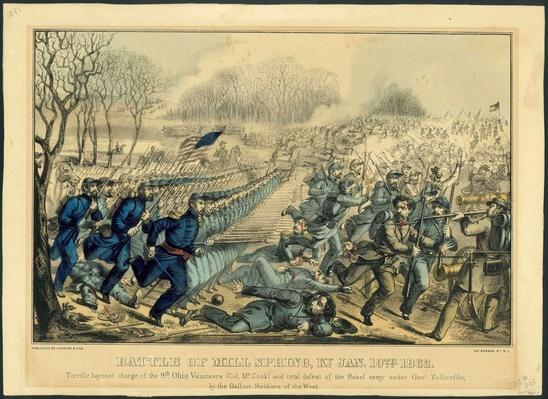 lithograph showing the front lines of a civil war battle with union soldiers on the left and confederate soldiers on the right.