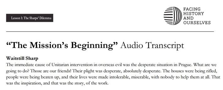 "The Sharps' Dilemmas | ""The Mission's Beginning"" Audio Transcript | Defying the Nazis: The Sharps' War"