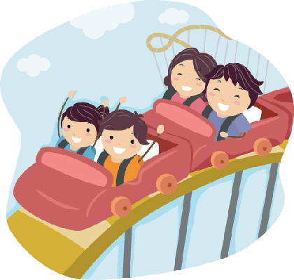 Family on Roller Coaster | Clipart