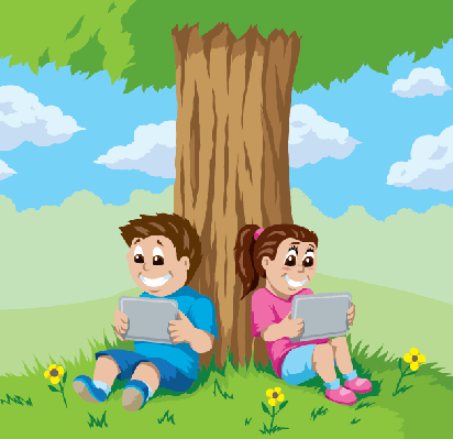 Kids with Tablets Under A Tree | Clipart