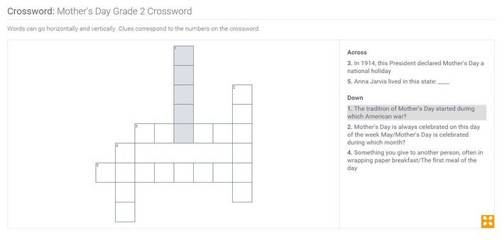 Mother's Day | Grade 2 Crossword