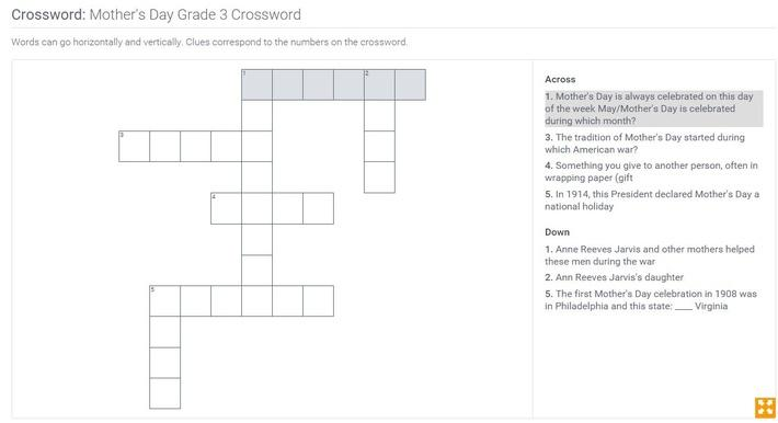 Mother's Day | Grade 3 Crossword
