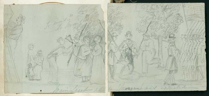 pencil drawing showing citizens in a panic while confederate troops walk through town